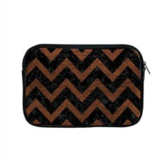 Chevron9 Black Marble & Dull Brown Leather (r) Apple Macbook Pro 15  Zipper Case by trendistuff