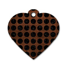 Circles1 Black Marble & Dull Brown Leather Dog Tag Heart (one Side) by trendistuff