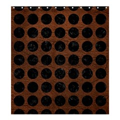 Circles1 Black Marble & Dull Brown Leather Shower Curtain 66  X 72  (large)  by trendistuff