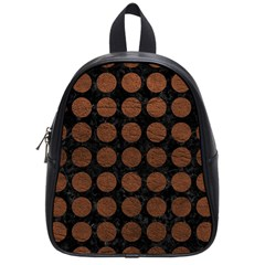 Circles1 Black Marble & Dull Brown Leather (r) School Bag (small) by trendistuff