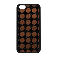 Circles1 Black Marble & Dull Brown Leather (r) Apple Iphone 5c Seamless Case (black)