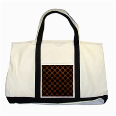 Circles2 Black Marble & Dull Brown Leather Two Tone Tote Bag by trendistuff
