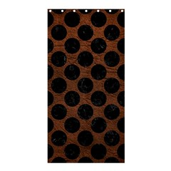 Circles2 Black Marble & Dull Brown Leather Shower Curtain 36  X 72  (stall)  by trendistuff
