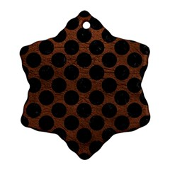 Circles2 Black Marble & Dull Brown Leather Ornament (snowflake) by trendistuff