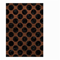 Circles2 Black Marble & Dull Brown Leather Small Garden Flag (two Sides)