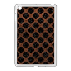 Circles2 Black Marble & Dull Brown Leather Apple Ipad Mini Case (white) by trendistuff