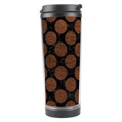 Circles2 Black Marble & Dull Brown Leather (r) Travel Tumbler by trendistuff