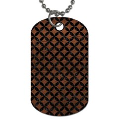 Circles3 Black Marble & Dull Brown Leather Dog Tag (one Side) by trendistuff