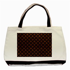 Circles3 Black Marble & Dull Brown Leather Basic Tote Bag by trendistuff