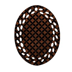 Circles3 Black Marble & Dull Brown Leather Ornament (oval Filigree) by trendistuff