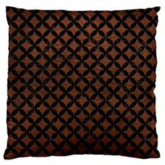Circles3 Black Marble & Dull Brown Leather Large Flano Cushion Case (two Sides) by trendistuff