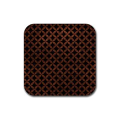 Circles3 Black Marble & Dull Brown Leather (r) Rubber Coaster (square)  by trendistuff