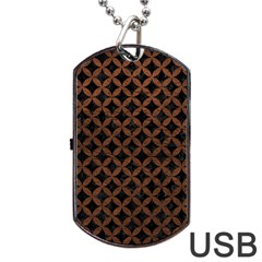 Circles3 Black Marble & Dull Brown Leather (r) Dog Tag Usb Flash (two Sides) by trendistuff