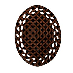 Circles3 Black Marble & Dull Brown Leather (r) Ornament (oval Filigree) by trendistuff