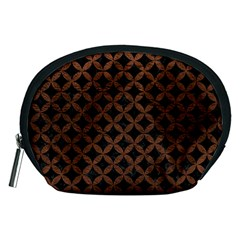 Circles3 Black Marble & Dull Brown Leather (r) Accessory Pouches (medium)  by trendistuff