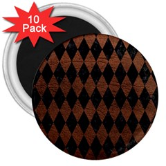 Diamond1 Black Marble & Dull Brown Leather 3  Magnets (10 Pack)  by trendistuff