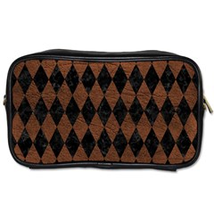 Diamond1 Black Marble & Dull Brown Leather Toiletries Bags