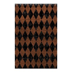 Diamond1 Black Marble & Dull Brown Leather Shower Curtain 48  X 72  (small)  by trendistuff