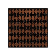 Diamond1 Black Marble & Dull Brown Leather Acrylic Tangram Puzzle (4  X 4 ) by trendistuff
