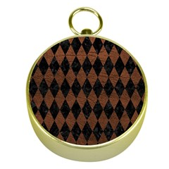 Diamond1 Black Marble & Dull Brown Leather Gold Compasses