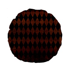 Diamond1 Black Marble & Dull Brown Leather Standard 15  Premium Flano Round Cushions by trendistuff