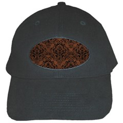 Damask1 Black Marble & Dull Brown Leather Black Cap by trendistuff