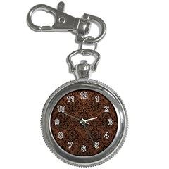 Damask1 Black Marble & Dull Brown Leather Key Chain Watches by trendistuff