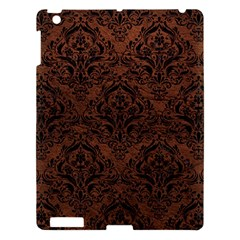 Damask1 Black Marble & Dull Brown Leather Apple Ipad 3/4 Hardshell Case by trendistuff