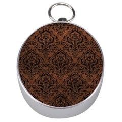 Damask1 Black Marble & Dull Brown Leather Silver Compasses by trendistuff