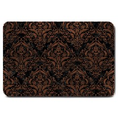 Damask1 Black Marble & Dull Brown Leather (r) Large Doormat  by trendistuff
