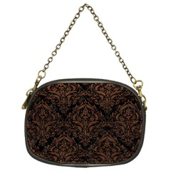 Damask1 Black Marble & Dull Brown Leather (r) Chain Purses (two Sides)  by trendistuff
