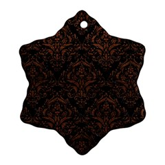 Damask1 Black Marble & Dull Brown Leather (r) Snowflake Ornament (two Sides) by trendistuff