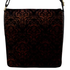 Damask1 Black Marble & Dull Brown Leather (r) Flap Messenger Bag (s) by trendistuff