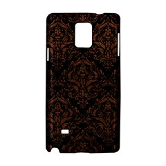 Damask1 Black Marble & Dull Brown Leather (r) Samsung Galaxy Note 4 Hardshell Case by trendistuff
