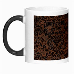 Damask2 Black Marble & Dull Brown Leather Morph Mugs by trendistuff