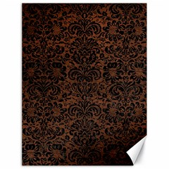 Damask2 Black Marble & Dull Brown Leather Canvas 18  X 24   by trendistuff