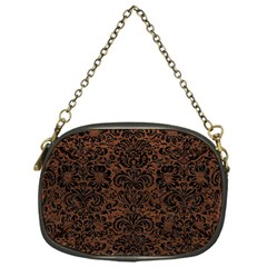 Damask2 Black Marble & Dull Brown Leather Chain Purses (one Side)  by trendistuff