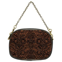 Damask2 Black Marble & Dull Brown Leather Chain Purses (two Sides)  by trendistuff