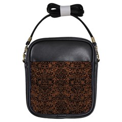 Damask2 Black Marble & Dull Brown Leather Girls Sling Bags by trendistuff