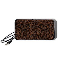 Damask2 Black Marble & Dull Brown Leather Portable Speaker by trendistuff