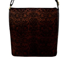 Damask2 Black Marble & Dull Brown Leather Flap Messenger Bag (l)  by trendistuff