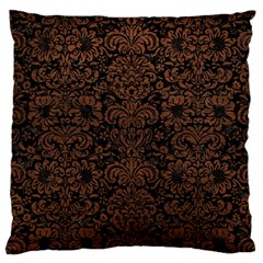 Damask2 Black Marble & Dull Brown Leather (r) Large Cushion Case (two Sides) by trendistuff