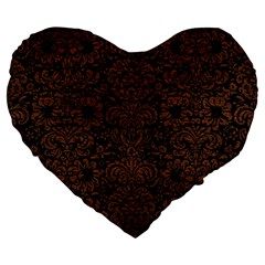 Damask2 Black Marble & Dull Brown Leather (r) Large 19  Premium Heart Shape Cushions by trendistuff