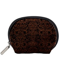 Damask2 Black Marble & Dull Brown Leather (r) Accessory Pouches (small)  by trendistuff