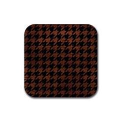 Houndstooth1 Black Marble & Dull Brown Leather Rubber Coaster (square)  by trendistuff