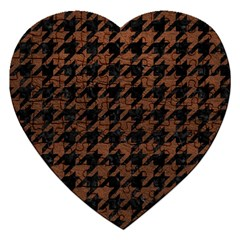 Houndstooth1 Black Marble & Dull Brown Leather Jigsaw Puzzle (heart) by trendistuff
