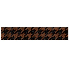 Houndstooth1 Black Marble & Dull Brown Leather Large Flano Scarf  by trendistuff
