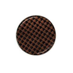 Houndstooth2 Black Marble & Dull Brown Leather Hat Clip Ball Marker (10 Pack) by trendistuff