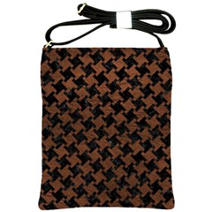 Houndstooth2 Black Marble & Dull Brown Leather Shoulder Sling Bags by trendistuff