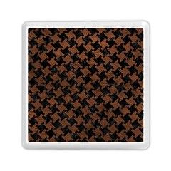 Houndstooth2 Black Marble & Dull Brown Leather Memory Card Reader (square)  by trendistuff